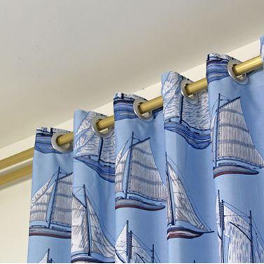 Blue Sailing Boat Printed Polyester Energy Saving Kid Curtains ...