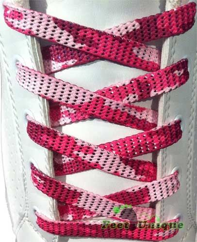 Pink glitter army shoelaces