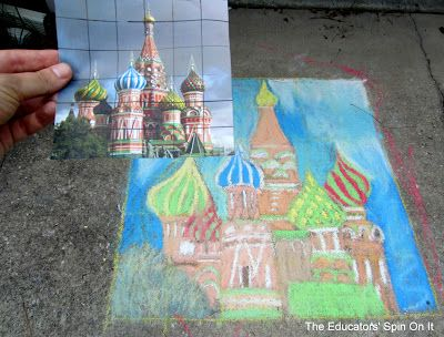 A great chalk drawing as part of learning with art and math about the buildings of Russia.