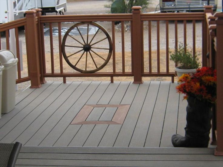 Builddirect I Love The Wagon Wheel Rail Around This Deck