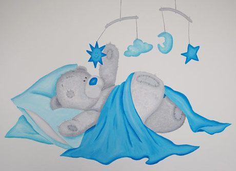 Me to You muurschildering in het blauw
