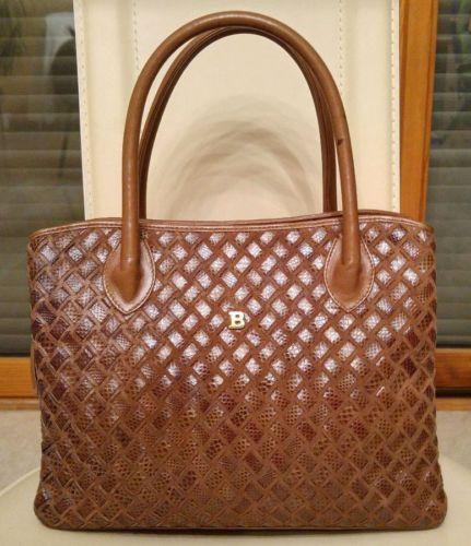 Magnifique-authentique-sac-a-main-BALLY-cuir-tresse-daim-marron-TBE-luxe-vintage