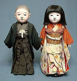 Fine Antique Japanese Ichimatsu Ningyo Dolls Pair
