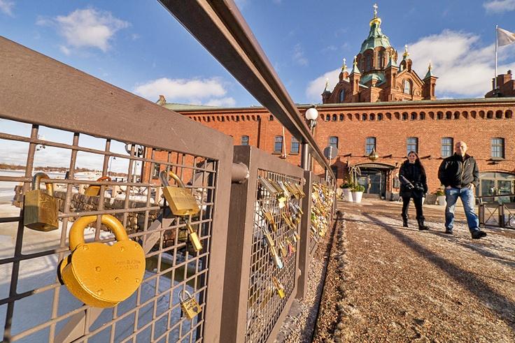 Love locks and Uspenski cathedral.