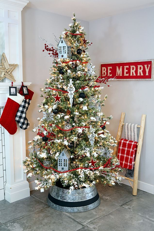 Farmhouse Christmas Tree with Cool Galvanized Tree Collar