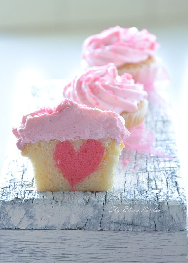 Make these Vanilla Heart Cupcakes for Valentine's Day.