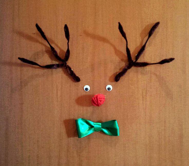 Decorazione natalizia per il portone di casa: Rudolph la renna di Babbo Natale!