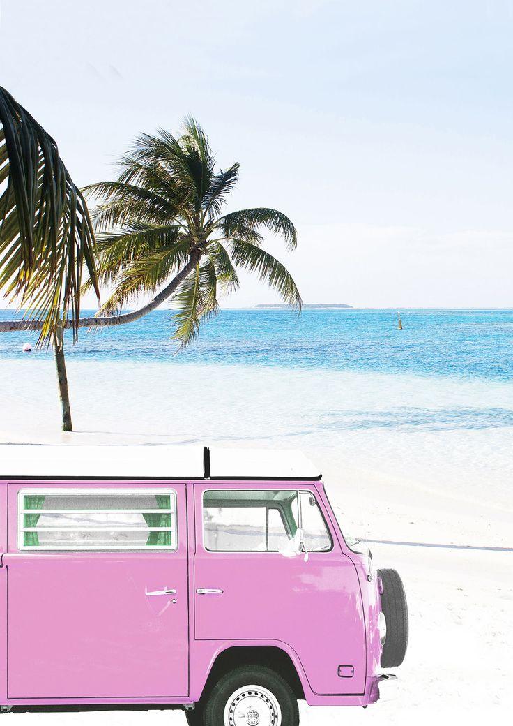 Retro Van Print, Pink VW Bus, Ocean Artwork, Seaside Wall Artwork, Classic Automotive Artwork, Printable Artwork, Youngsters Room Decor, Digital Obtain, #445