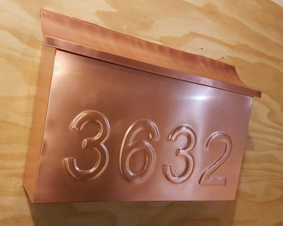 Extra Large Copper Mailbox with embossed house numbers