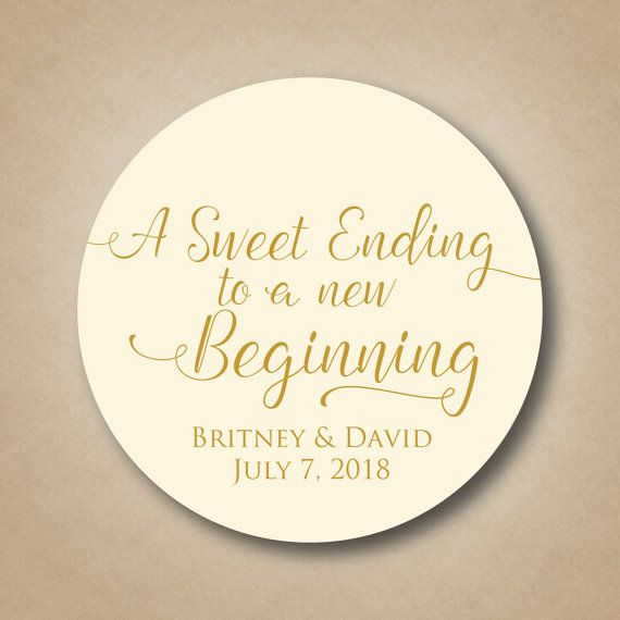 A Sweet Ending to a New Beginning Wedding Favor by StickEmUpLabels