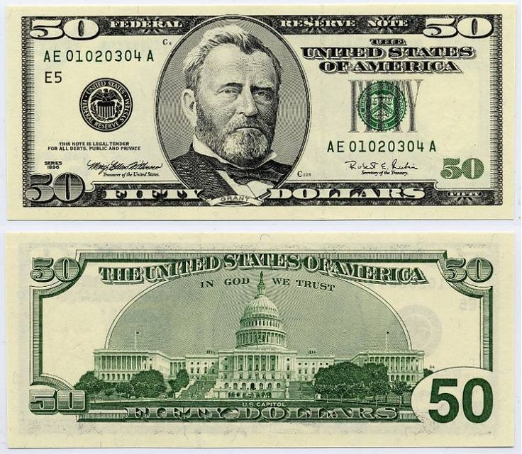 u.s. fifty dollar bill | 1996 $50 Federal Reserve Ladder Note S/N AE 01020304 A | MONEY TRAIL ...