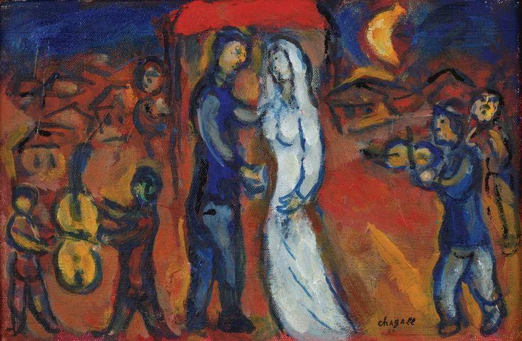 Marc Chagall. Les maries sous le baldaquin. 1970                              …