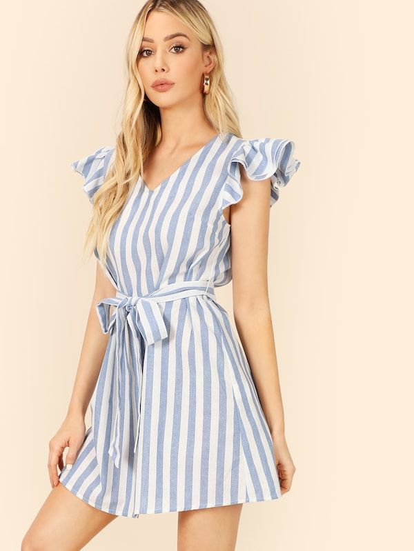 40834924d7553 Layered Ruffle Trim Self Belted Striped Dress -SHEIN(SHEINSIDE ...