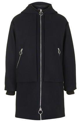 Wool Blend Overlay Hooded Coat