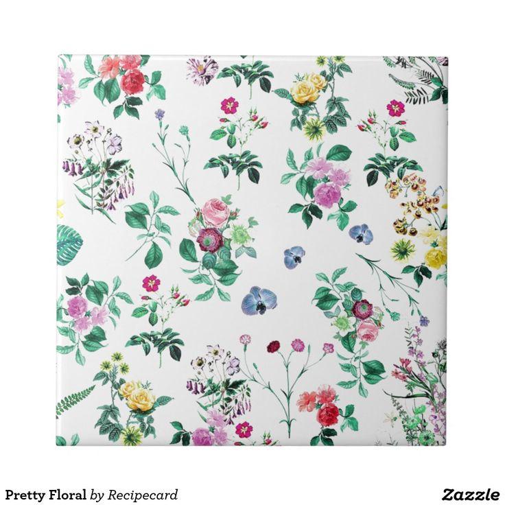 Pretty Floral Small Square Tile