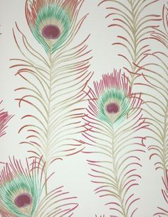 Themis Vinyl Wallpaper An opulent vinyl wallpaper featuring a repeat of beautiful peacock feathers on light sand.