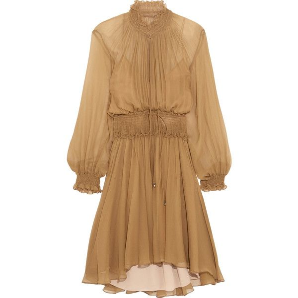 Chloé Smocked silk-crepon mini dress found on Polyvore featuring dresses, chloe, light brown, smocked dresses, smocked waist dress, short dresses, slip on dress and light brown dress