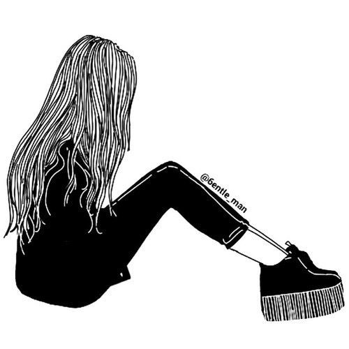 art, black, drawing, fashion, girl, grunge, hair, outline, outlines, white