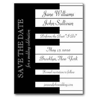 Piano Keyboard Music Themed Wedding Save The Date Postcards. For a wedding with a musical theme, where bride and groom share an interest in music. The card features a piano keyboard announcing the wedding of the bride and groom and the date of their 'performance' of the duet 'I Do'.