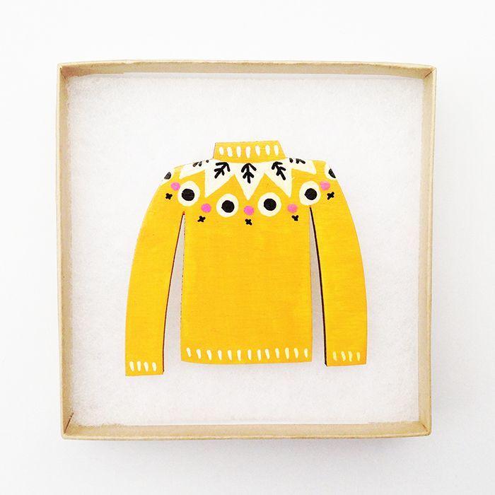 Mustard Yellow - Jumper Brooches via Audrey and Illya. Nottingham UK