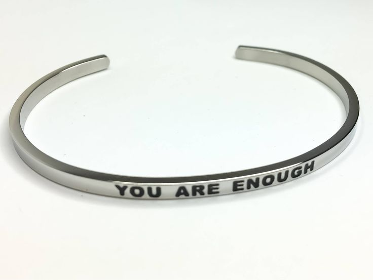 You Are Enough Bracelet, Silver Stainless Steel Bracelet, Fitness Jewelry, Motivational Bracelet, Thin Cuff Bangle, Gifts for Her, Gift Idea by MissFitBoutiqueCA on Etsy https://www.etsy.com/ca/listing/559137011/you-are-enough-bracelet-silver-stainless