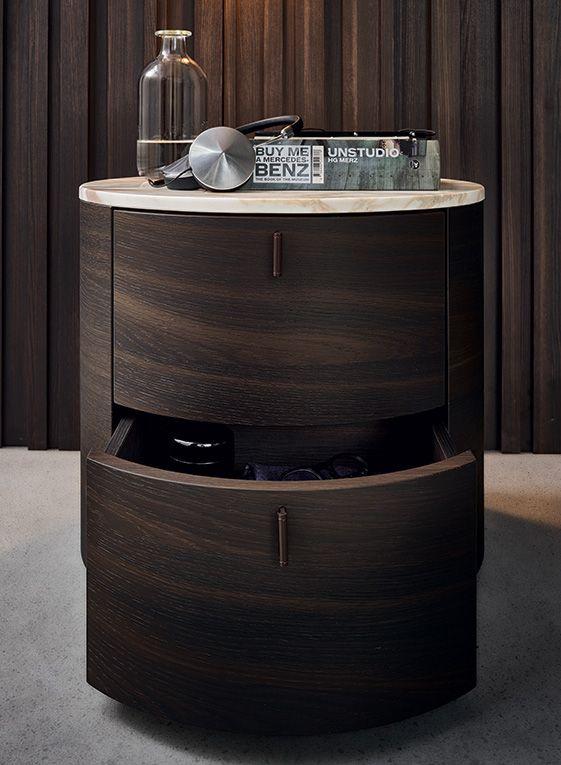 Onda night table in spessart oak with glossy calacatta oro marble top.