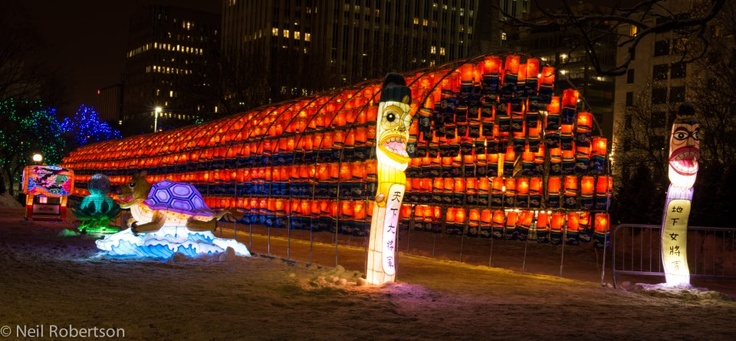 """The Lantern Garden of the Jinju Namgang Yudeung Festival """"tunnel"""" made out of over a thousand lanterns at Winterlude 2013 in Ottawa, Canada. For more information on Winterlude visit http://www.ottawatourism.ca/en/visitors/top-attractions/winterlude"""