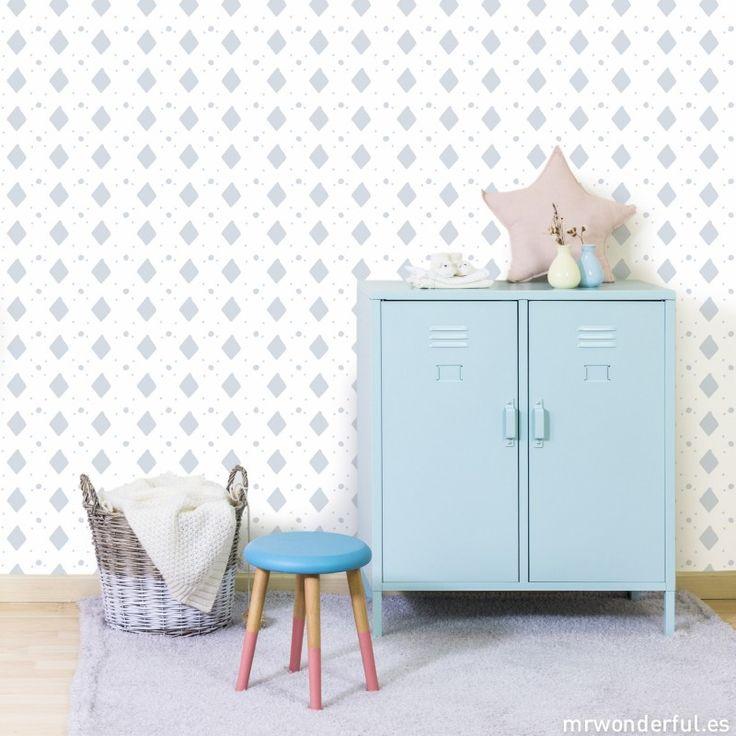 Rollo de papel pintado - Rombos (Color azul) #mrwonderfulshop #wallpaper #baby #decoration
