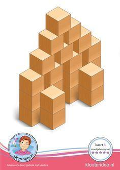 Bouwkaart 6 moeilijkheidsgraad 5 voor kleuters, kleuteridee, Preschool card building blocks with toddlers 10, difficulty 5, free printable.