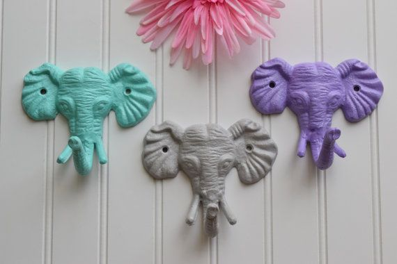 Elephant Wall Hook / Teal / Purple / Grey, White, CHOOSE YOUR COLOR / Decorative Nursery Hooks / Coat Racks / Nursery Decor / Iron Coat Rack