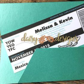 Fly away with this fantastic ticket to your wedding! These lasercut boarding pass jacket complete the look. #destinationwedding #travelticket #destinationinvitation #tropicalparadise #tropicalinvitation