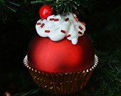 PDF Pallina di Natale cupcake #Christmas #diy #handmade #craft #cherry #christmasball #cupcake