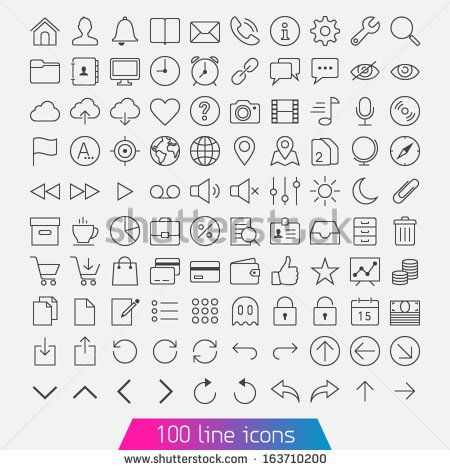 100 line icon set. Trendy thin and simple icons for Web and Mobile. Light version - stock vector