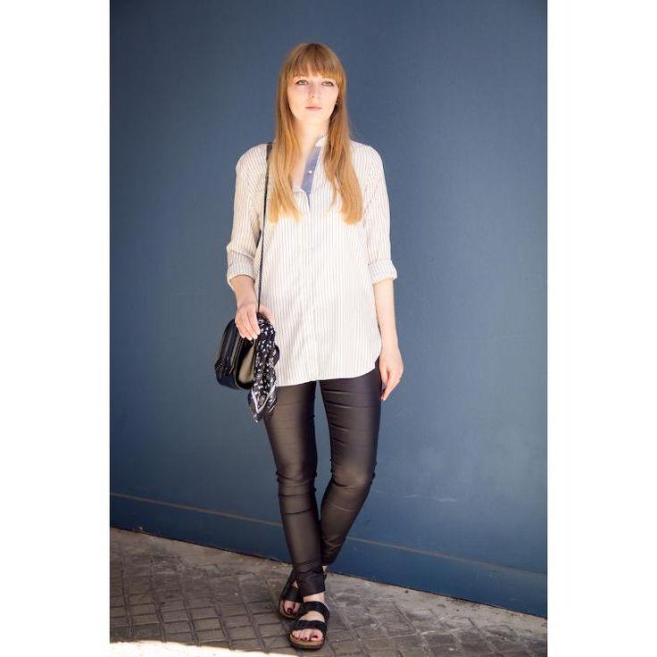 birkenstocks, leather pants & stripes by clarabour