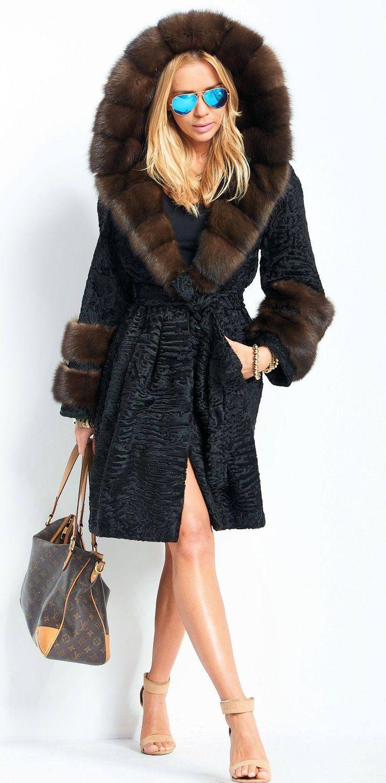 Black Swakara Lamb and Russian Sable  Trimmed Hooded Coat