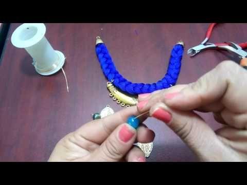 Collar trenzado con hilo y cadena - YouTube