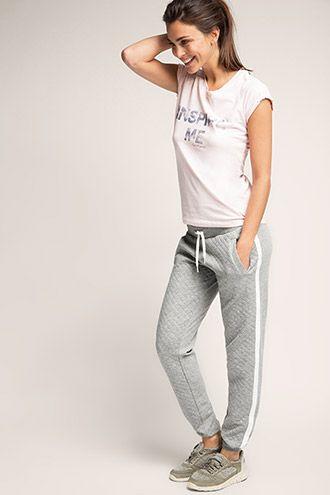 Esprit / Pantaloni felpati sportivi con motivo a rombi