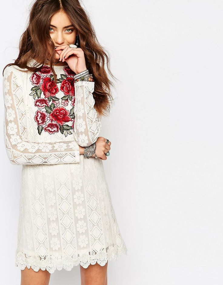 Image 1 of Young Bohemians Festival Shift Dress with Embroidered Rose Detail In Lace