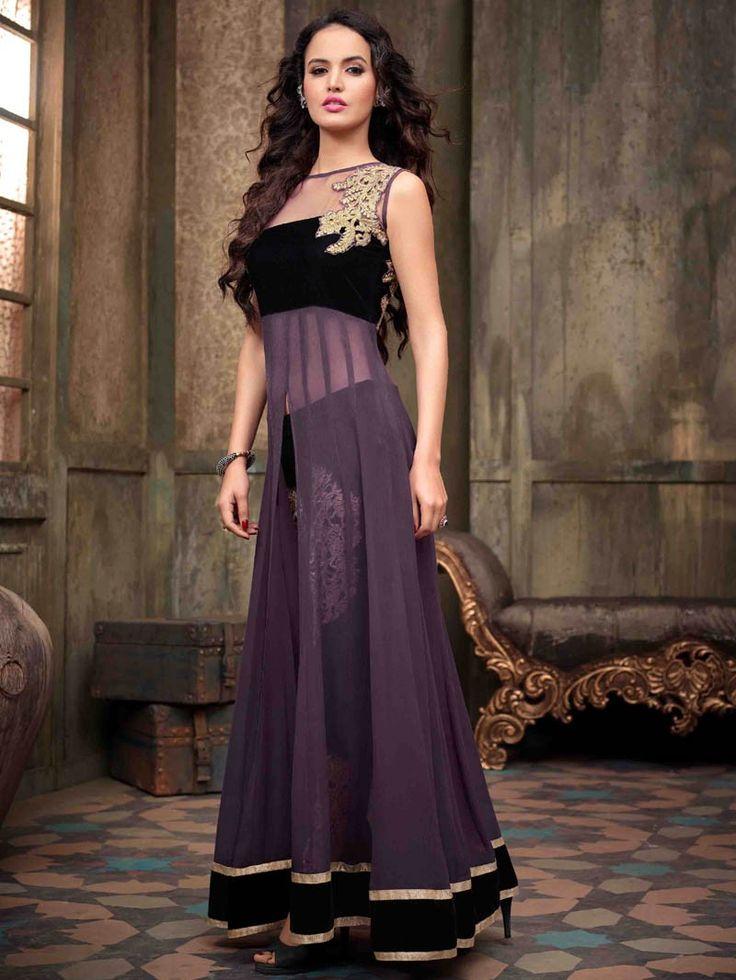 Purple with Black Front Open Embroidered Anarkali Suit #ChuridarKameez #Fashion #Ethnics #Saree #Sari #Lehenga #Suits #Indianwear #Anarkali