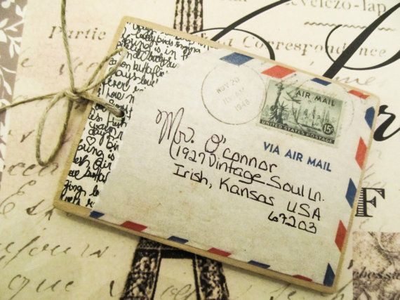 Vintage Wood Personalized Luggage Tag by CgullsVintageSoul on Etsy, $5.00
