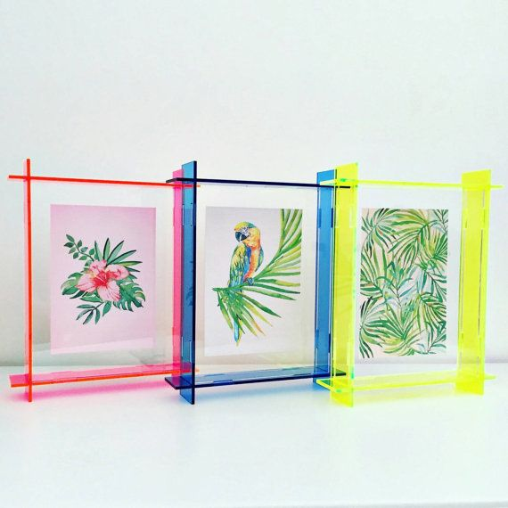small acrylic box frame neon yellow A6 perspex by leckystudio