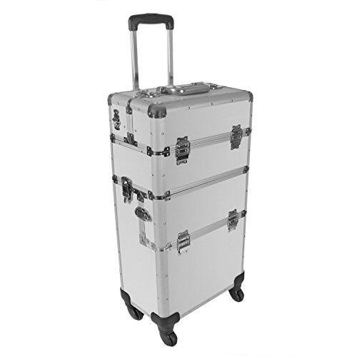 """""""Champ"""" Aluminium Koffer / Trolley / Pilotenkoffer / Friseurkoffer / Werkzeugtrolley / Werkzeugkoffer in Silber – Art. 280638 Der Trolley besitzt einen abnehmbaren Handkoffer, ein Trageriemen macht diesen kleinen Koffer komfortabel. Sowohl der Handkoffer als auch das Unterteil sind abschließbar. Der gesamte Trolley bietet viel Stauraum. Das Zieharmonikafach (4 x vorhanden), welches variable Unterteilungen enthält, sortiert Ihre Utensilien übersichtlich und getrennt voneinander. Aufgrund der…"""