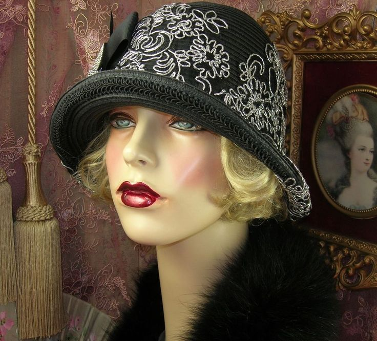 1920'S VINTAGE STYLE BLACK SILVER EMBROIDERED RHINESTONE BOW CLOCHE FLAPPER HAT | Clothing, Shoes & Accessories, Women's Accessories, Hats | eBay!