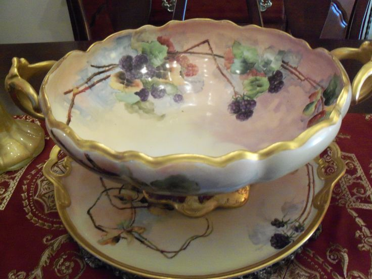 Large Limoges punch bowl and tray
