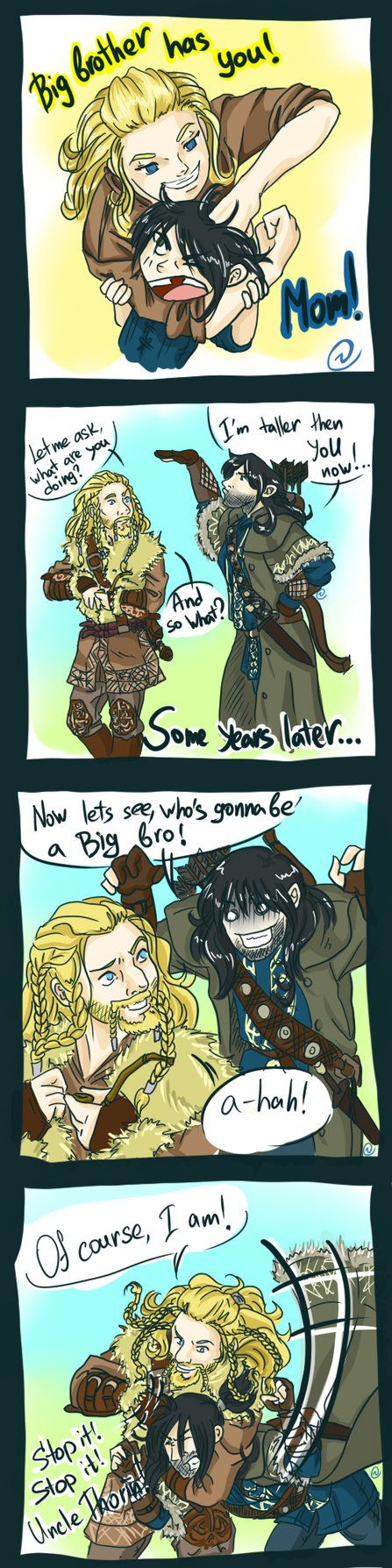 Sometimes you just can't win, LOL.  Drawn by red-eye-girl ...  Kili, dwarf, The Hobbit, Tolkien, Fili,