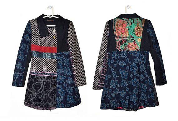 Womens Boho Patchwork Coat Medium Large M L