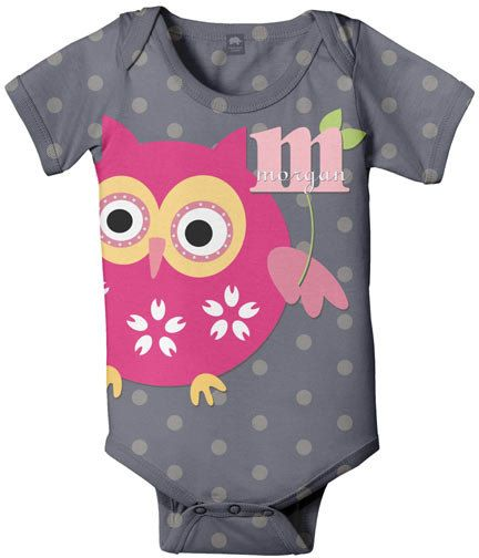 Personalized onesie!: Baby Girl Owl, Owl Infants, Gift Ideas, Baby Girls, Baby Clothing, Baby Pink, Baby Fashion, Pink Owl, Baby Girl Onesie