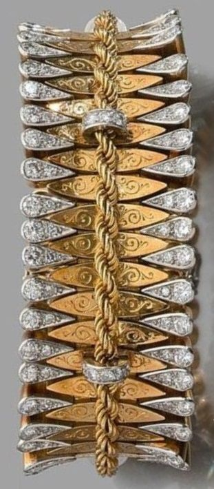 An Art Deco platinum, gold and diamond bracelet, circa 1935. A bracelet of a very simular design by Van Cleef & Arpels was sold at Pierre Bergé & Associés in Brussels, June 2007. #ArtDeco #bracelet