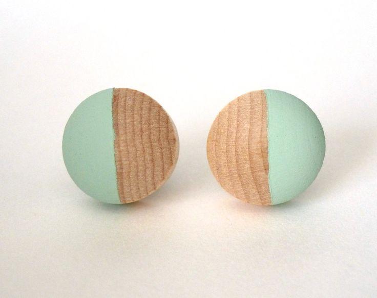 Mint green wood post button earrings, wood stud earrings, light green earrings, pastel earrings. $7.00, via Etsy.