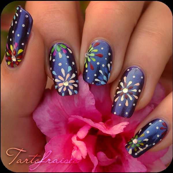 Best 25 firework nails ideas on pinterest new years nail nail art feux dartifices prinsesfo Gallery